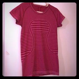 Lululemon athletica hot pink stripe top